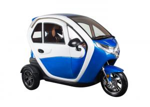China Blue Enclosed Electric Tricycle With Safety Belt Disc Brake System Sightseeing on sale
