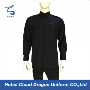 China Black 100% Cotton Long Sleeve Work Shirts For Security Guard / Police / Worker on sale