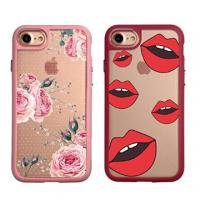 Flower Crystal Slim TPU Bumper Apple Cell Phone Cases Black / Red / Pink / Blue