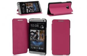 China Waterproof Girls Red Htc One m7 Leather Wallet Case Mobile Phone Protective Cover on sale