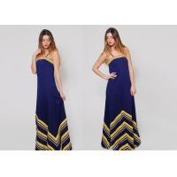 Chevron Stripe Navy Dress Blue Sleeveless Nautical Anti-Wrinkle
