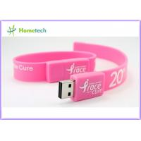 Pink Silicon Wristband USB Flash Drive Silicon bracelets USB Flash Memory , Multi Color USB 2.0 Bracelet Memory Stick