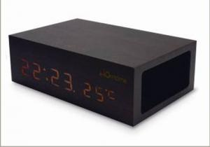 China stylish wooden bluetooth speaker with thermometer alarm clock touch key on sale