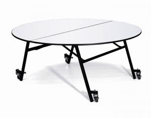 Quality Hotel Banquet Dining Folding Round Table With Wheels For Sale
