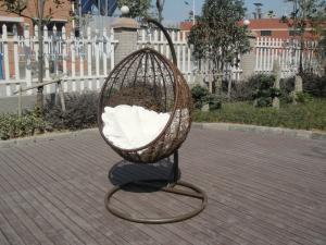 China PE Rattan Swing Chair , Garden / Balcony Glider With White Cushion on sale