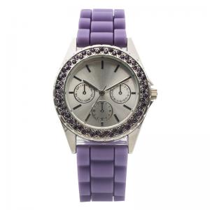 China Customize Purple Silicone Digital Watch With Stone Of Fashion on sale