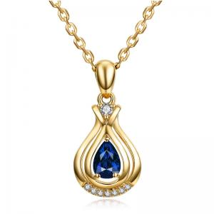 China Blue Sapphire Teardrop Necklace , Sapphire Necklace Gold Chain on sale