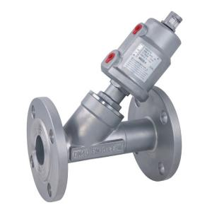 China Flanged Pneumatic Angle Seat Valve with Stainless Steel Actuator on sale