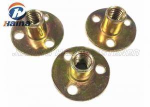 China Zinc plated Round Base T Nut With Three Brad Hole , Tee Nuts Or Furniture Nut on sale