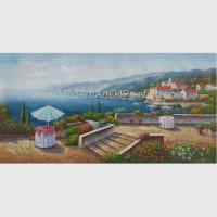 Acrylic Classic Mediterranean Scenes Oil Painting Colorful Oceanside