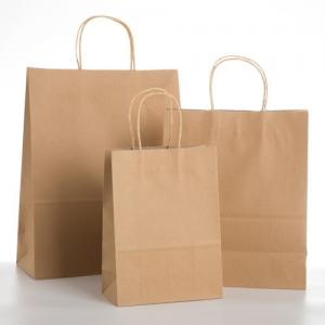 China Rectangle Brown Bags With Handles , Kraft Paper Tote Bag For Food on sale