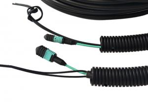 China FTTA GYFJH MPO Fiber Optic Patch Cord OM3 Multimode Type Black Color on sale