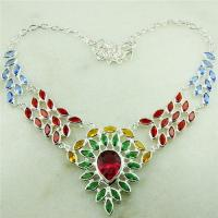 China 925 silver PERIDOT RED GARNET CITRINE BLUE TOPAZ GEMSTONE BEAUTIFUL Necklaces FAST SHIPPING 8 inch on sale