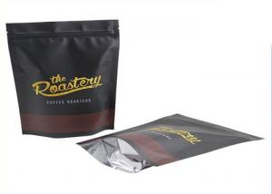 China 250G Black Creative Coffee Packaging Bags / Coffee Bean Pouches OPP + AL + PE on sale