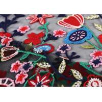 Black Colorful Flowers Embroidery Lace Hand Beaded Fabric For Curtain / Garment