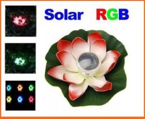 China Solar Colorful LED Lotus Lamp Floating Rotating Pond Light on sale