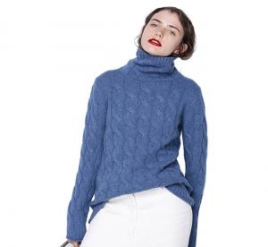 China Women Cashmere Turtleneck Sweater , Women's Cashmere Jumpers Coarse Wool Material on sale