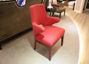 China Red Upholstered Fabric Hotel Room Chairs With Arm / Solid Wood Frame And Legs supplier