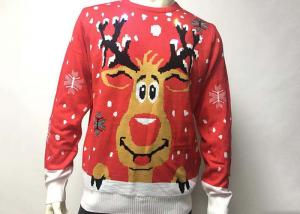 China Led Light Up Reindeer Christmas Sweater In Acrylic With 10 Lights on sale