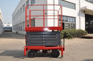 China Manual Pushing Mobile Scissor Lift 9 Meters Height Hydraulic Lift Table 500Kg Loading on sale