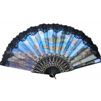 China Costom Printed Lace Hand Fans for Wedding with Scenic Spot  Design on sale