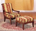 Fashion  Natural Timber Wood Rubber Armchair With Ottoman , Living Room Lounge Chair
