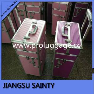 China Striped ABS vanity case luggage pink and purple hair stylist rolling beauty cases on sale