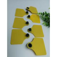 China TPU Material Visual RFID Livestock Tags Two Sides Shape Barcode Animal Ear Tag For Cattle on sale