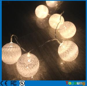 China warm white 10leds string lights cotton balls battery x-max lights on sale