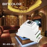DIN Rail DMX512 Constant Voltage Decoder DC12V-DC24V 5CH×5A transfer standard DMX512/1990 signal to PWM signal.