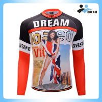 Wholesale Custom your logo sublimation mens sexy long sleeve winter cycling jersey wear cycling clothing with bib pants