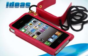 China Wallet Red Apple iPhone Leather Cases , Magnetic iPhone 5 Leather Covers on sale