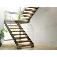 prefabricated stairs glass railing wood tread staricase with double  beam stringer