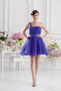 China Fashionable 2013 One Shoulder Organza A Line Womens Cocktail Party Dresses , Custom Colors on sale