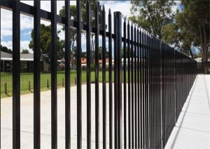 China Commercial Galvanized Security Steel Fence Panels Tubular Coated POWDER 2 rails 3 rails 4 rails available on sale