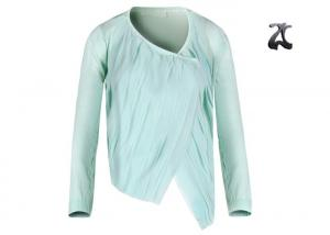China 85% Viscose Womens Shrug Sweater Light Green Custom Size with Chinese Style Collar on sale