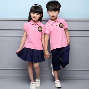 China Summer Cotton Fabric Kindergarten Primary School Uniform / Kid Pink Polo Shirts on sale