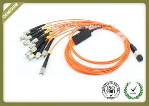 China Orange Color Optical Fiber Jumper 12 Core 0.10dB Reability For Medical Sensing System on sale