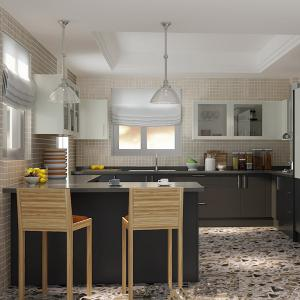 China Aluminium Frame Laminate Plywood Kitchen Cabinets L Shaped With Glass Doors on sale