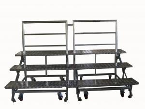 China Professional Wheeled Aluminum Adjustable Stage Risers Collapsible Classic Design on sale
