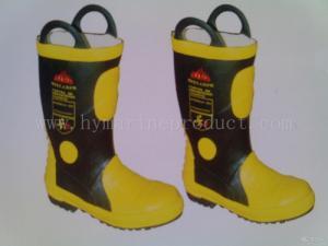 China 火証拠のゴム長/鋼鉄つま先および鋼板が付いている消火活動のブーツ on sale