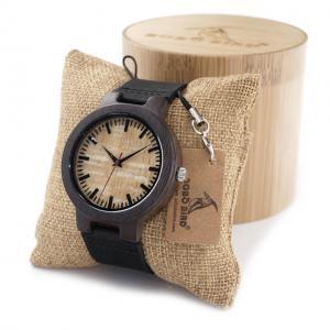 China Custom Own Logo Japan Movement Leather Bamboo Watch Wood on sale