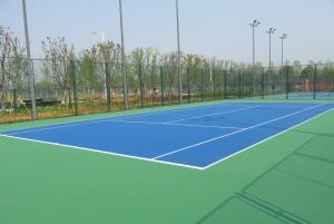 China Tennis Court PU Sports Flooring Anti Slip With High Crystalline Silicone Buffer Coat on sale