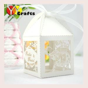 5x5 Cm Paper Personalised Wedding Favor Boxes Gift Candy Box Elephant Design