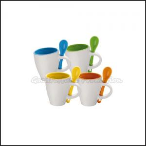 China Promotion printed logo coloured two tone ceramic coffee mugs with spoon on sale