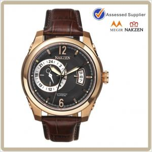 China Genuine leather mens mechanical automatic watch on sale