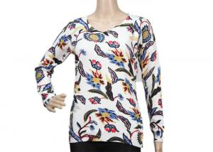 China Thin 12GG White Long Sleeve Womens Crew Neck Sweater Printed Flower Pattern on sale