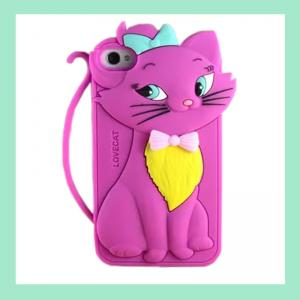 China cute cat iphone case for 4,4S ,silicone animal phone cover for iphone 5,5S on sale