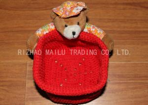 China Red Crochet Fruit Basket Flat Bottom Crochet Hanging Basket With Bears on sale