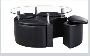 ... Quality White Round Coffee Table + 4 Storage Stools For Sale ...